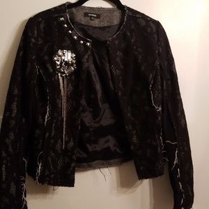 Express laced distressed blazer